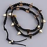Alcoa Prime Women Fashion Long Studs Rivets Wrap Bracelet Weave Rope Handmade Punk Easy For Dressing Match