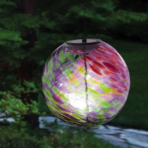 evergreen enterprises hanging solar gazing ball outdoor decor pink green home garden lawn. Black Bedroom Furniture Sets. Home Design Ideas