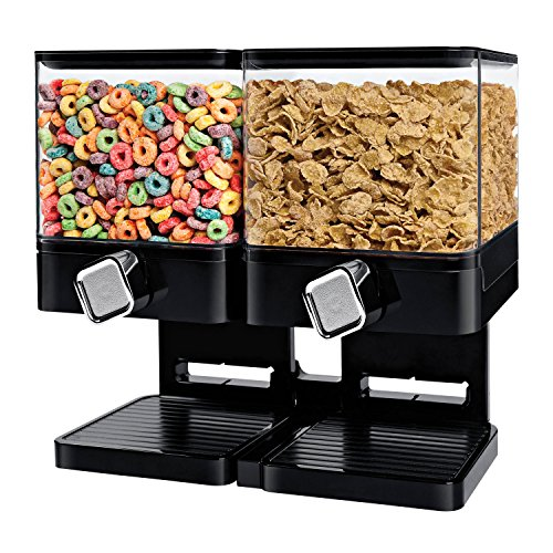 Zevro KCH-06134 Compact Dry Food Dispenser, Dual Control, White/Chrome (Cereal Dispenser Double compare prices)