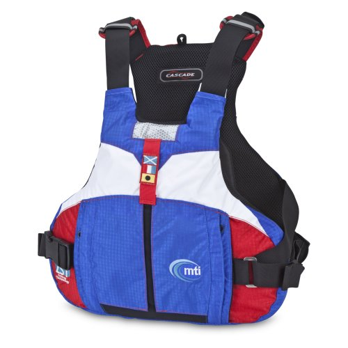 MTI Adventurewear Cascade Mariner Performance Sailing and Paddling PFD Life Jacket, Blue Ripstop/Red Ripstop, Small/Medium