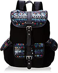 Wild Pair Printed Sequin Flap Cargo With Faux Leather Trim Backpack Handbag, Black, One Size