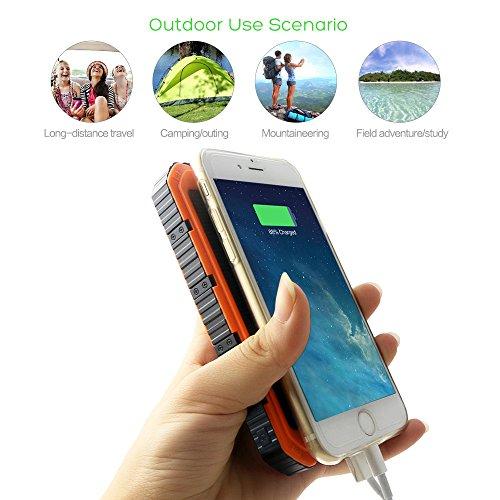 X-DRAGON ソーラーチャージャー 10000mAh ポータブル ソーラー充電器 頑丈で耐衝撃 デュアルUSB ソーラーバッテリーチャージャー iPhone 6 Plus 5S 5C 5 4S/iPod/Samsung Galaxy S6 S6 Edge S5 S4 S3 Note 4 3/LG G3/Nexus/HTC One M9/Goproカメラ/GPS等マルチデバイス対応(オレンジ)