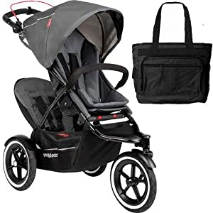 Phil Teds Navigator Buggy Stroller with Doubles Kit and Diaper bag - Graphite by phil&teds