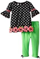 Bonnie Baby Baby-Girls Infant Knit Dot Legging Set, Black, 18 Months