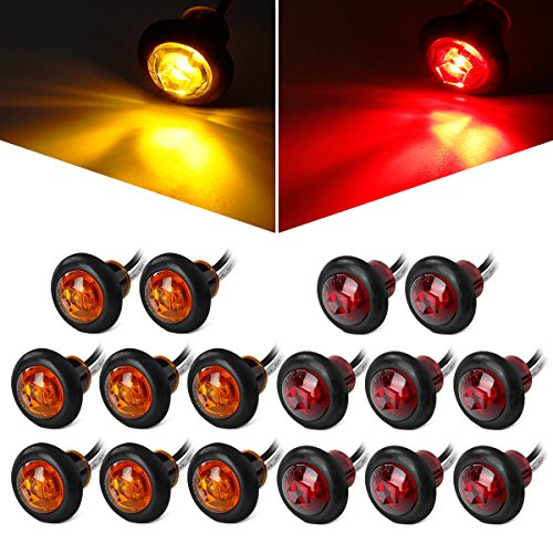Partsam 8 Pcs Red & 8 Pcs Amber 3/4 Inch Mount Clear Lens LED Bullet Light Lamp Truck Trailer Round Side Marker(Total of 16 Pcs) (Chevrolet Silverado 1500 Parts compare prices)