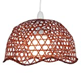 Lighting Web Company Scalloped Dome Shade in Lacquered Bamboo, Brown