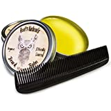 Hoot's Naturals Beard Balm, 4oz Tin with Beard Comb - Organic Oil Recipe - Softener and Conditioner