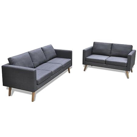 vidaXL Ensemble canapé 2 places canapé 3 places en tissu gris foncé Mobilier de salon