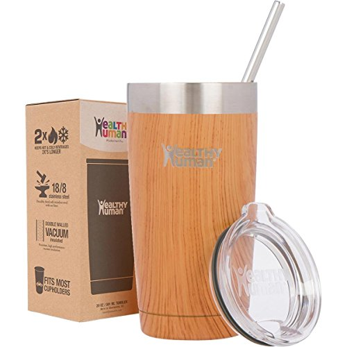 Healthy Human 20 oz Cruiser - Insulated Stainless Steel Tumbler Cup with Lid & Straw. Natural Wood