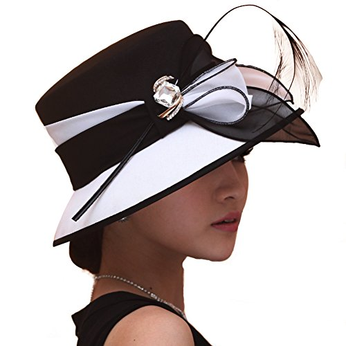 June's young Women Hat Formal Dress Hat Polyester Fabric Feather Ascot Race Derby Hat Wedding (Black white)