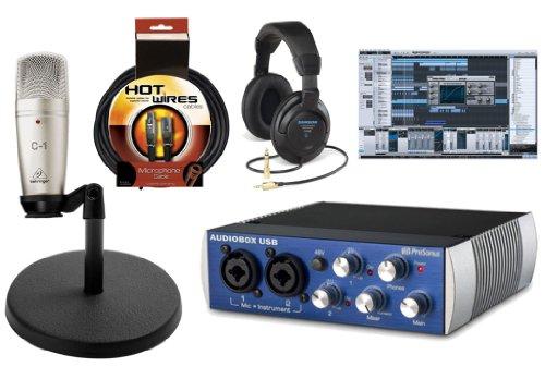 Presonus Audiobox Usb Daw Recording Bundle With Behringer C1 Large Diaphragm Condenser Microphone, Studio One Artist Recording Software, Samson Ch700 Studio Headphones, Desk Stand & 10Ft Xlr Cable