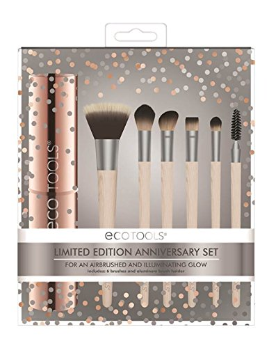 Ecotools Cruelty Free Ect 10 Year Anniversary Make Up Brush Set Made with Sustainable and Recycled Materials; With Custom Cut Bristles