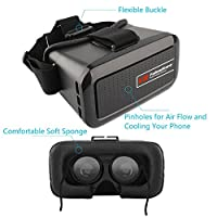 VR Glasses, Fuleadture 3D Virtual Reality Headset Video Movie Games Google Cardboard for iPhone 6s Plus and Other 4.0 - 6.0 inch Smartphones with Bluetooth Remote Controller from Fuleadture