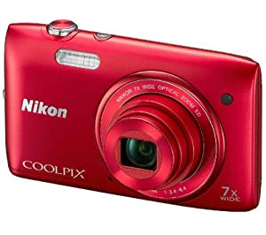 NIKON S3400 - red VNA392E1 (Take impressive 20.1-megapixel shots and 720p HD videos on the Coolpix S3400 from Nikon... )
