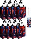 8-pack Spiderman Tote Bags (15x14x6 Woven Reusable), 1 Spiderman Push-up Pencil, & Rare 4-sheet Spiderman Sticker Set (3x6) - 3 item bundle