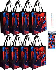 8-pack Spiderman Tote Bags (15″x14″x6…