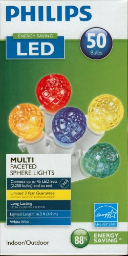 Philips Led Multi Colored Faceted Sphere Lights 50 Bulbs