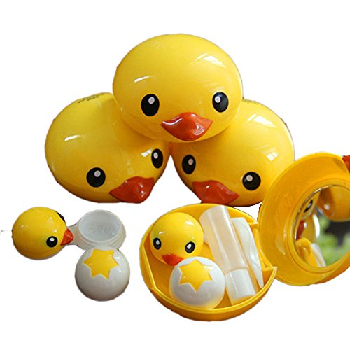 special-cute-yellow-duck-contact-lenses-box-case-holders-container-set