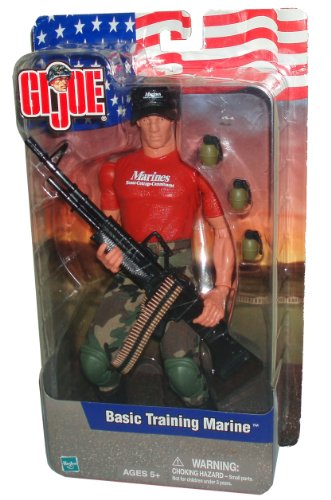 Buy Low Price Hasbro GI Joe Year 2001 Basic Training Series 11 Inch Tall Soldier Action Figure – BASIC TRAINING MARINE with BDU Pants, 2 Knee Pads, Belts, Boots, Field Cap, M-60 Machine Gun, Ammo Belt and 3 Grenades (B003DGN816)