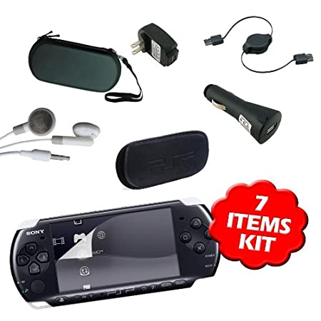 New PSP 3000 Accessories Bundle - 7 items Kit by DBTech Includes PSP 3000 Case (PSP 3000 Hard Case and PSP 3000 Soft Case), PSP 3000 Screen Protector, PSP 3000 Car Charger, PSP 3000 USB Cable and PSP 3000 Earphones
