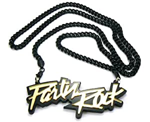 Jet Black LMFAO Party Rock Pendant with a 36 Inch Cuban Chain Necklace Sorry For Party Rocking