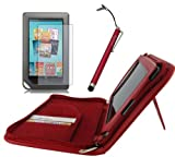 rooCASE 3n1 Executive Leather Portfolio (Red) Case Cover with Landscape and Portrait View / Capacitive Stylus / Screen Protector for Barnes and Noble NOOKcolor Nook Color eBook Reader (NOT Compatible with NOOK HD)