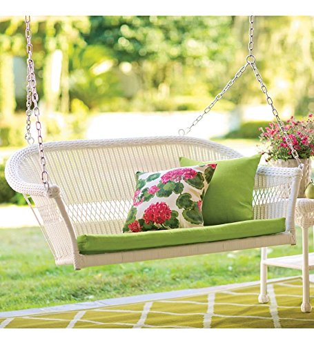 All-Weather Resin Outdoor Everyday Wicker Swing, in White photo