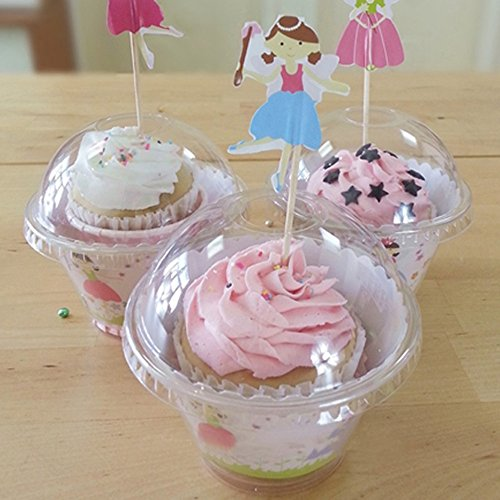 100 Clear Plastic PET Cupcake Ice Cream Mousse Pods BPA-Free Containers Hole on Lid for Toppers (Individual Ice Cream Containers compare prices)