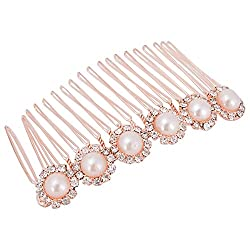 Aaishwarya Stone & Faux Pearl Studded Bow Metal Hair Comb For Women/Girls