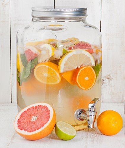Estilo Glass Single Mason Jar Beverage Drink Dispenser With Leak Free Spigot, 2 Gallon (2 Gallon Beverage Dispenser Stand compare prices)