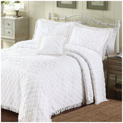 Lamont Home Lilian Bedspread, White, Queen front-809756