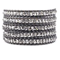 Chan Luu Crystal Ab Wrap Bracelet on Natural Grey Leather