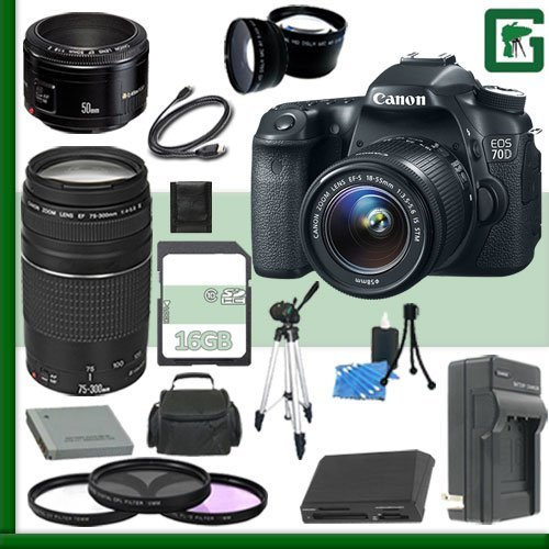 Canon Eos 70D Digital Slr Camera Kit With 18-55Mm Is Stm Lens And Canon Ef 75-300Mm Iii Lens And Canon 50Mm F/1.8 Lens + 16Gb Green'S Camera Package