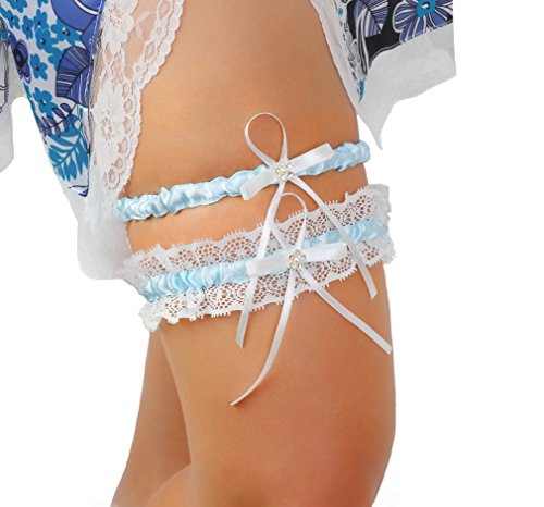 LR Bridal Blue Lace Wedding Garter Set of 2 with Rhinestone Satin Bow with Toss Away