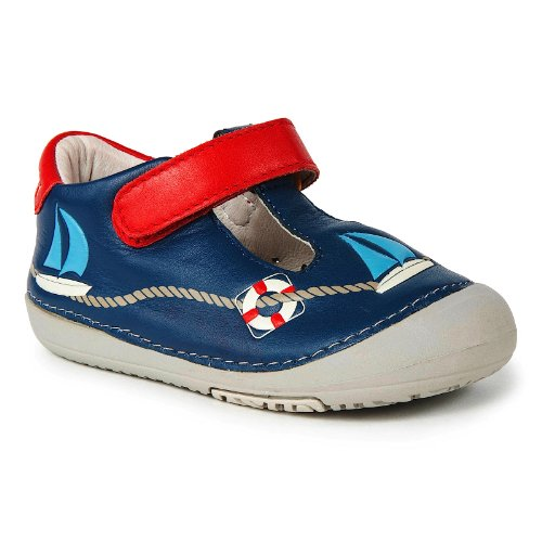 Momo Baby First Walker/Toddler Sailor Navy T-Strap Leather Shoes - 5 M Us Toddler front-217254