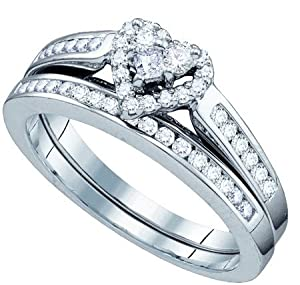 Ladies 10K White Gold .55ct Round Cut Diamond Engagement Wedding Bridal Set Ring