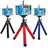 Mini Tripod Mobile Tripod For All Mobiles And DSLR + Phone Holder Clip-Assorted Color