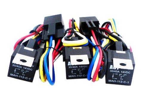 Agt (5 Pack) 30/40 Amp Relay Harness Spdt 12V Bosch Style (40Amp-Hrns)