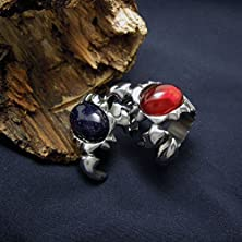 buy Gsg Scorpion Gravel Pomegranate Red And Blue Retro Men'S Rings Couple