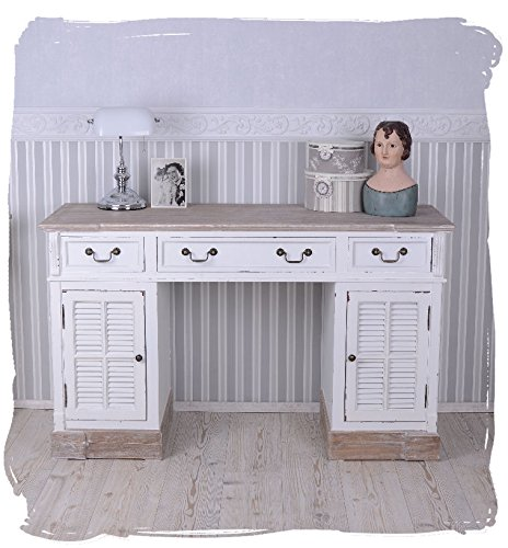Antique Desk / Computer Desk, Schreibmöbel, Secretary desk, table, made from wood with A Vintage-Style in white, High-Quality and romantic look meet the charm of the country house design, unique beauty with superb Quality-Palazzo Exclusive