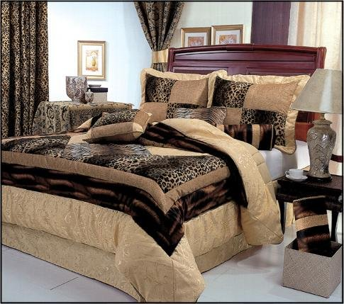"7 Pieces Leopard Print Patchwork Comforter (90""x92"" in Inch) Set/ Bed-in-a-bag Queen Size"
