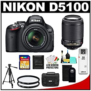 Nikon D5100 16.2 MP Digital SLR Camera & 18-55mm G VR DX AF-S Zoom Lens with 55-200mm VR Lens + 32GB Card + Case + (2) Filters + Remote + Tripod + Cleaning Kit