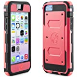 i-Blason Armorbox for Apple iPhone 5C Case - Dual Layer Hybrid Full-body Protective Case with Front Cover and Built-in Screen Protector and Impact Resistant Bumpers (apple pink)
