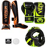 Venum Challenger 2.0 Neo Standup Bundle, Black/Yellow Gloves, Black/Orange Shinguards, Black/Yellow Headgear,...