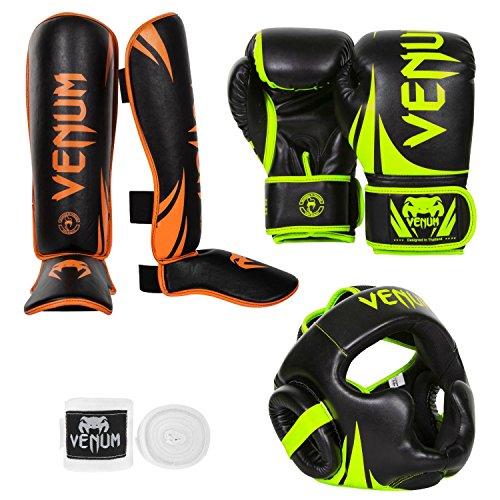 Venum Challenger 2.0 Neo Standup Bundle, Black/Yellow Gloves, Black/Orange Shinguards, Black/Yellow Headgear,...