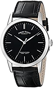 Armand Nicolet Men's Mechanical Watch with Black Dial Analogue Display and Black Leather Strap 9670A-NR-P670NR1