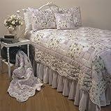 Lavender Frost Queen Quilt 90x90 Cream Purple Sage Cotton