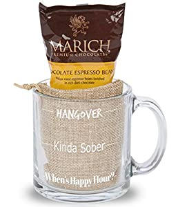 Cutie Cups Sarcastic Office Coffee Mug - Chocolate Covered Espresso Beans Gift Set (Monday Happy Hour)