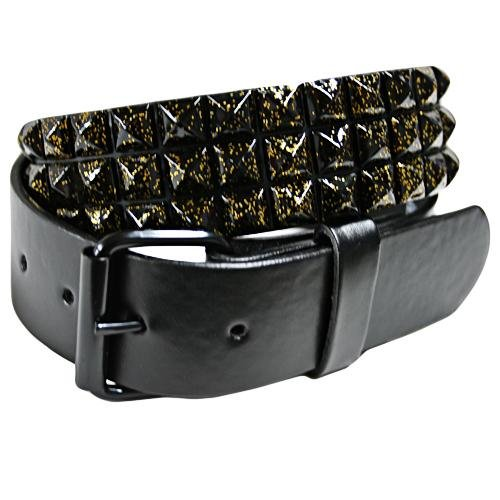 Black Spiked 3 Row Grommet Belt W/Gold Sparkle Size X-Large