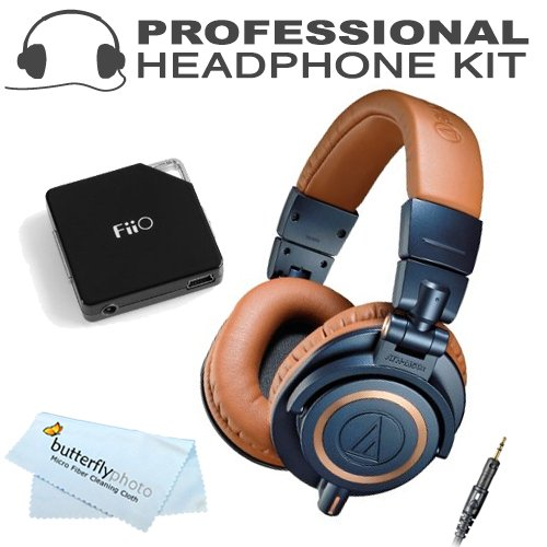 Audio-Technica Ath-M50Xbl Professional Monitor Headphones - Blue (New 2014 Model) With Fiio E6 Headphone Amplifier